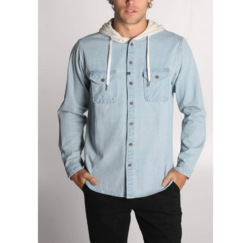 Wallace Long Sleeve Hooded Denim Shirt