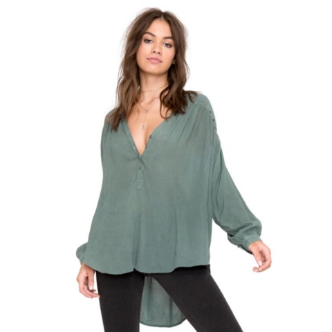 Sage Woven Top