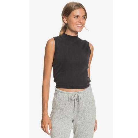 Spring Muse Rib Knit Mock Neck Top