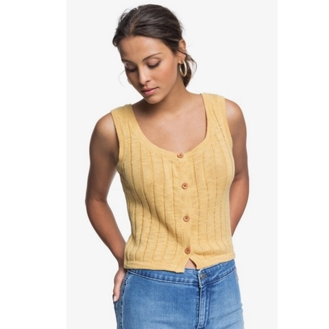 Be Sensational Buttoned Knitted Tank Top