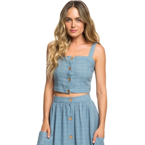 Ocean Groove Buttoned Crop Top