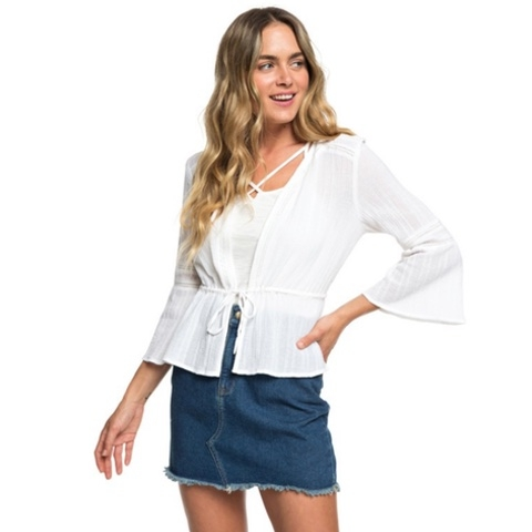Boho Weekend 3/4 Sleeve Tie-Front Shirt