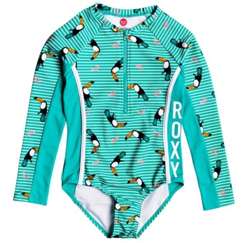 Birds Long Sleeve Front Zip One-Piece Rashguard